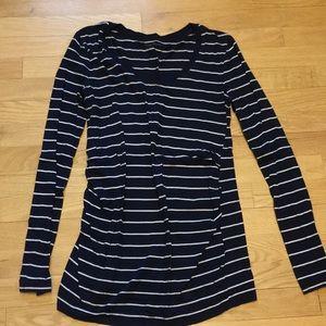 GAP navy white stripe long sleeve top